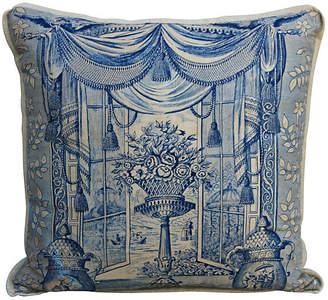 One Kings Lane Vintage Blue & White Linen Printed Pillow