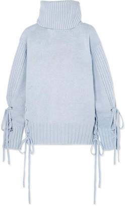McQ Lace-up Wool Turtleneck Sweater - Light blue