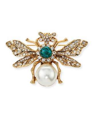 Kenneth Jay Lane Crystal Bee Pin w/ Pearly Center