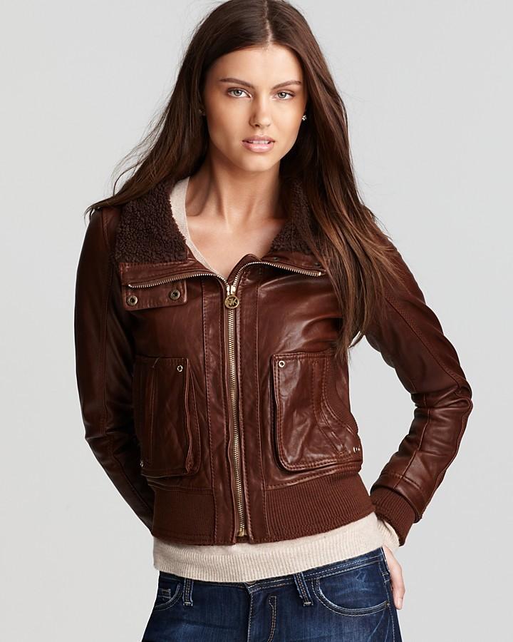KORS Berber Collar Leather Jacket