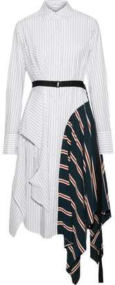 Tome Belted Paneled Striped Cotton-poplin Shirt Dress