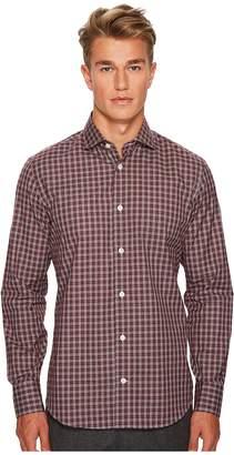 Eleventy Check Spread Collar Button Down Men's Clothing