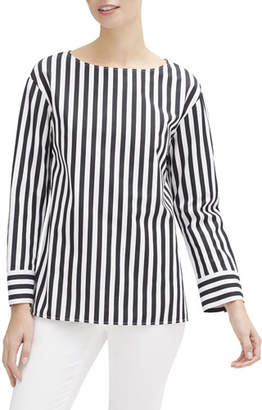 Lafayette 148 New York Graham Strada-Striped Long-Sleeve Cotton Blouse