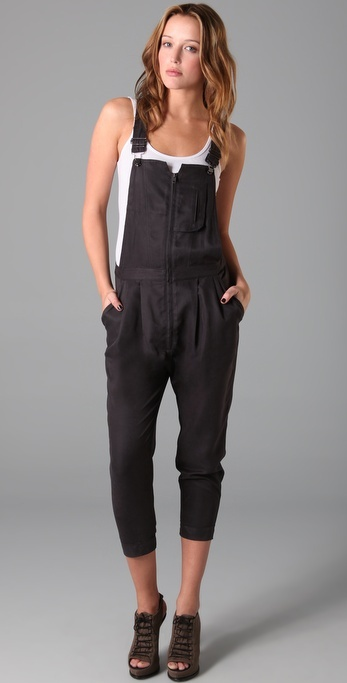 Factory Sueded Twill Overalls with Front Zip