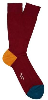 Paul Smith Colour Block Ribbed Cotton Blend Socks - Mens - Burgundy