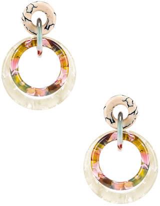 Lele Sadoughi Double Ring Hoop Earrings in Bone   FWRD