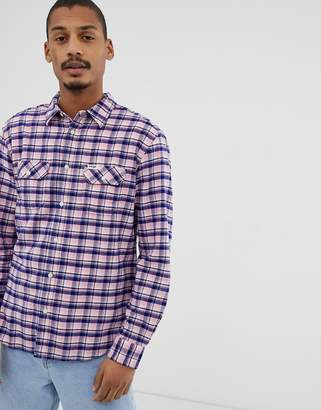 Wrangler 2 pocket check shirt in pink