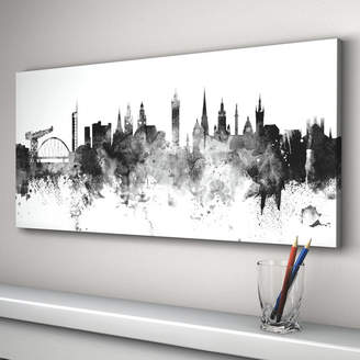 artPause Glasgow Skyline Cityscape Black And White Art Print