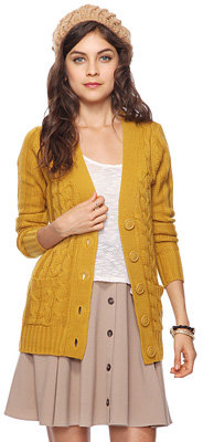 Forever 21 Cable Knit Sweater Cardigan