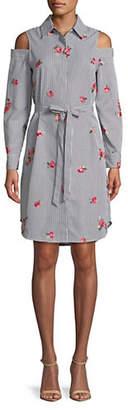 Calvin Klein Cold-Shoulder Cotton Shirtdress