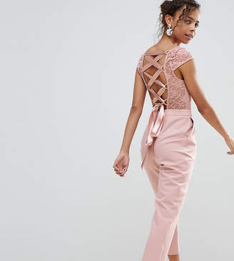 Asos Lace Top Jumpsuit with Lattice Back