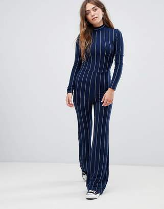 Glamorous high neck jumpsuit in pin stripe