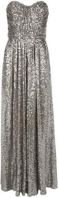 Badgley Mischka Strapless Sequin Embellished Gown