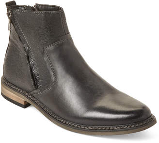 Steve Madden Dark Grey Tackled Dual-Zip Leather Boots