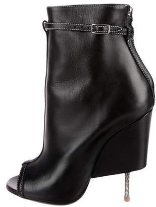 Givenchy Nissa Leather Peep-Toe Booties