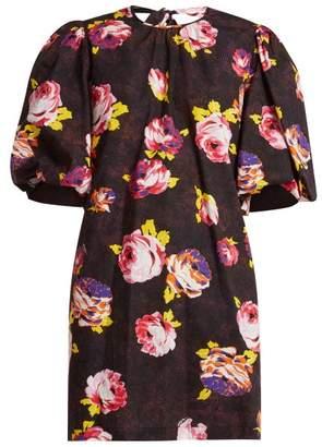 MSGM Floral Print Cotton Dress - Womens - Black Multi
