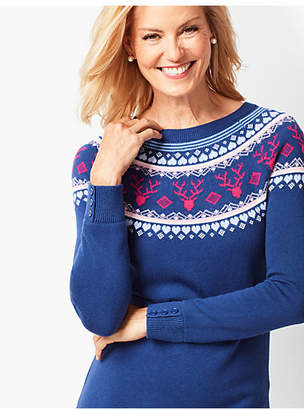 Talbots Reindeer-Print Fair Isle Sweater