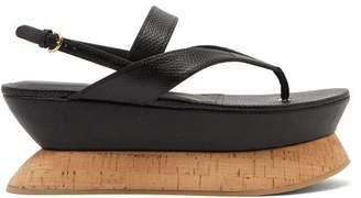 Salvatore Ferragamo Hydrus Leather Flatform Sandals - Womens - Black
