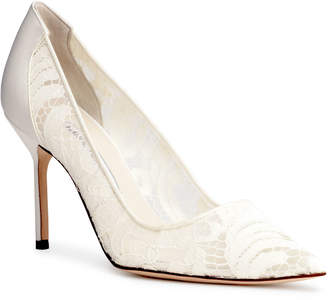 Manolo Blahnik BBLA 90 lace cream pumps