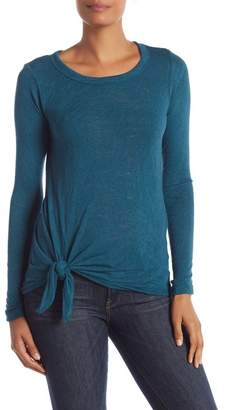 Bobeau Tie Front Long Sleeve Top