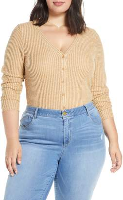 BP Button Front Long Sleeve Waffle Knit Top