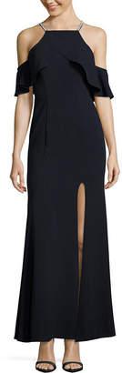 Speechless Short Sleeve Evening Gown-Juniors