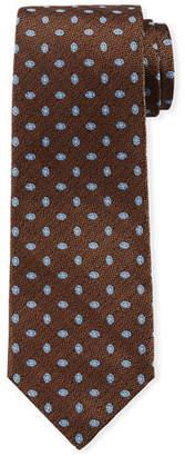 Isaia Woven Oval Pattern Silk Tie