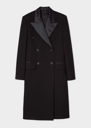 Paul Smith Women's Black Double-Breasted Tuxedo Wool Coat With Satin Lapel