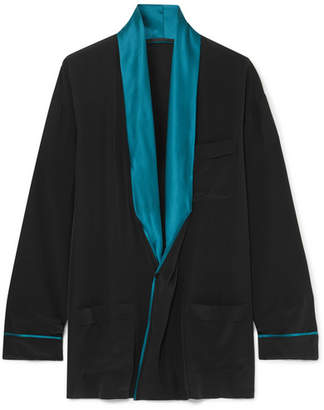 Haider Ackermann Draped Two-tone Silk Shirt - Black