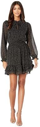 Cupcakes And Cashmere Milan Night Sky Lurex Striped Chiffon Ruffle Dress