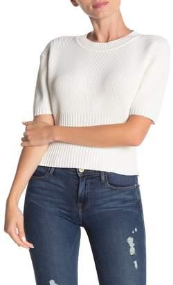 Dee Elly Solid Rib Knit Short Sleeve Top