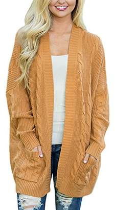 Actloe Women Casual Open Front Long Sleeve Cable Knit Sweater Cardigan with Pocket X-Large