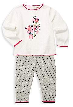 Catimini Baby Girl's Two-Piece Knit Sweater& Spotty Pants Set