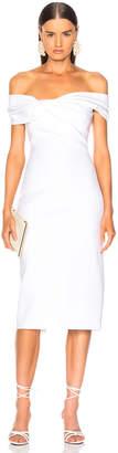 Cushnie Twist Off Shoulder Pencil Dress in White | FWRD
