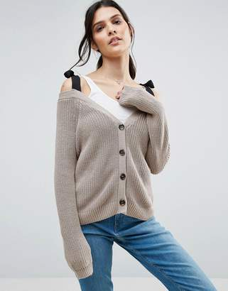 ASOS Cardigan in Boxy Shape with Cold Shoulder Detail $49 thestylecure.com