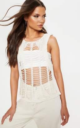 81a0d48b438 PrettyLittleThing Black Crochet Ladder Detail Vest Top