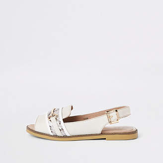 River Island White wide fit snake print slingback loafers