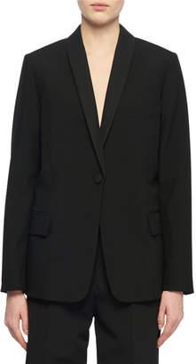 Stella McCartney One-Button Tieback Wool Blazer w/ Tonal Insert