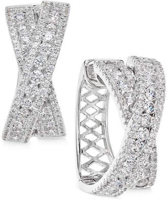 Arabella Swarovski Zirconia Crisscross Hoop Earrings in Sterling Silver