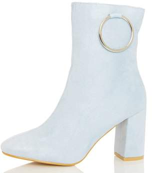 Quiz Pale Blue Ring Detail Heel Ankle Boots