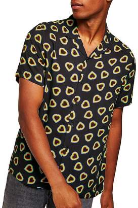 Topman Heart Print Classic Fit Shirt