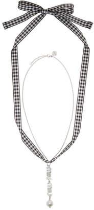 Miu Miu Silver Logo Pearl Charm Necklace