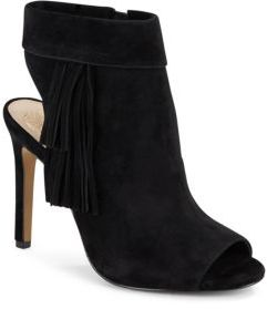 Kerina Fringed Suede Peep Toe Booties $149 thestylecure.com