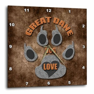 Breed 3dRose Great Dane Dog Love Dog in Gray and Brown, Wall Clock, 13 by 13-inch
