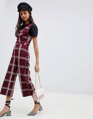 Miss Selfridge jumpsuit with button detail in burgundy check