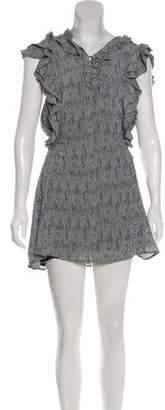 Apiece Apart Silk Printed Ruffle-Accented Mini Dress