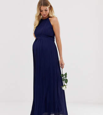 TFNC Maternity Maternity bridesmaid exclusive high neck pleated maxi dress in navy
