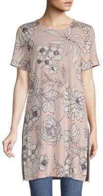 Calvin Klein Short-Sleeve Floral-Print Long Tunic