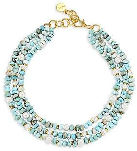Nest Women's Triple Larimar, Mother-Of-Pearl & 22K Goldplated Necklace