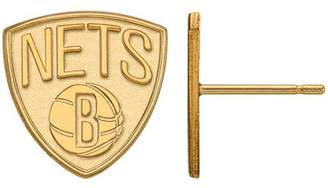 Logoart LogoArt NBA Brooklyn Nets 10kt Yellow Gold Stud Earrings